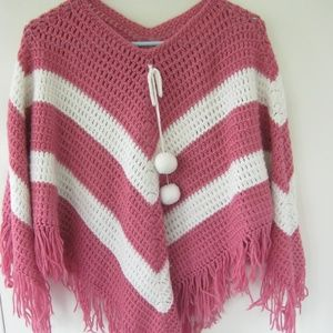 Beautiful Pink with White Striped Afghan Shawl